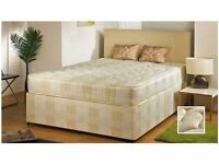 NEW DOUBLE DIVAN BED BASE WITH SEMI ORTHOPAEDIC MATTRESS AVAILABLE IN OTHER SIZES SINGLE & KINGSIZE