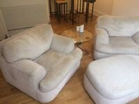 Beautiful Luxury Kreiss Love Seats with Ottoman.