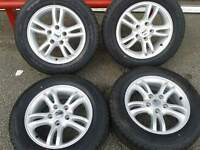 "VW T5 TRANSPORTER 16"" VAN LOAD RATED ALLOYS & BRAND NEW 205/65/16C TYRES. 5X120PCD"