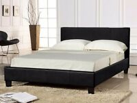 LEATHER DOUBLE BED WITH MATTRESS