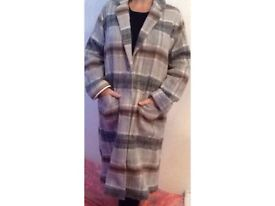 Top shop checked wool mix coat NEW