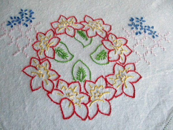 VINTAGE TABLECLOTH - HAND EMBROIDERED with PRETTY FLOWERS