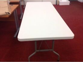 NEW white blew moulded tables 6ft2 x 2ft6-foldable steel legs