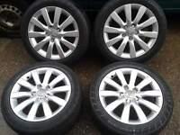 "GENUINE AUDI A4 A6 17"" ALLOYS & 245/45/17 TYRES. 5X112 VW T4 PASSAT SEAT SKODA 8K0601025C"