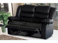 REETA 3 AND 2 SEATER BONDED LEATHER RECLINER SOFA WITH PULL DOWN DRINK HOLDER