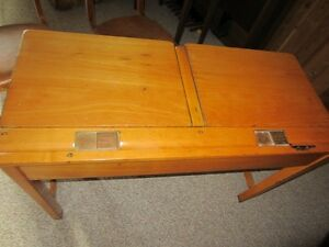 Antique Solid Oak double school desk with inkwells Kawartha Lakes Peterborough Area image 2