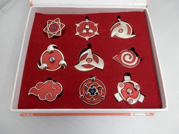 9pcs Naruto Shippuden Konoha Badges Pin Metal Toy Pendant New in Box