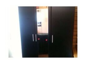 3 door black wardrobe