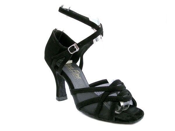 1657 Black Nubuck Swing Ballroom Salsa Mambo Latin Dance Shoes heel 2.5 Size 8