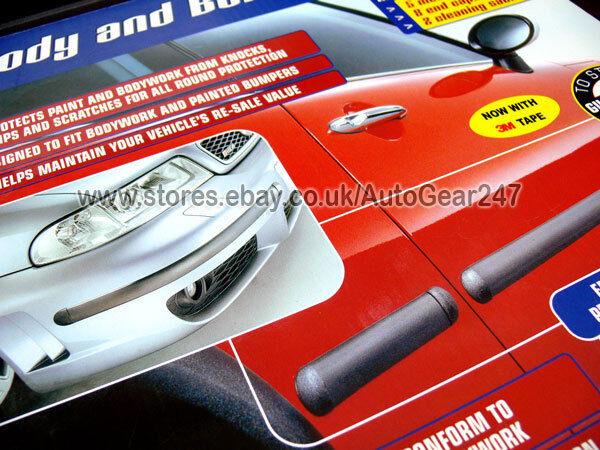 Richbrook 370mm Long BLACK Car Van Caravan Bumper Body Guard Rubber Moulding Styling Protectors Adhesive Strips Pair