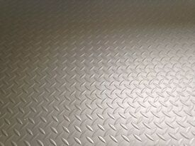 NEW GARAGE FLOORING - extra heavy duty chequerplate vinyl - LG Safedeck silver - SENSIBLE OFFERS