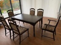 6 - 10 SEATER DINING TABLE PLUS 6 CHAIRS ( 2 ARE CARVERS)
