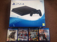 Ps4 slim 500gb with 4 games