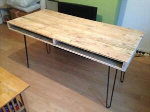 Reclaimed Pallet Console with Hairpin Legs
