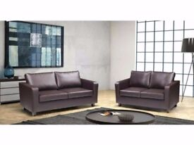 🔥🔥CHEAPEST PRICES 🔥🔥ITALIAN PU LEATHER 3 and 2 SEATER BOX SOFA SUITE IN BLACK/BROWN COLOR