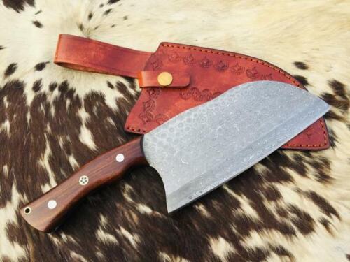 Custom Handmade Damascus Steel Cleaver Knife With Leather Sheath