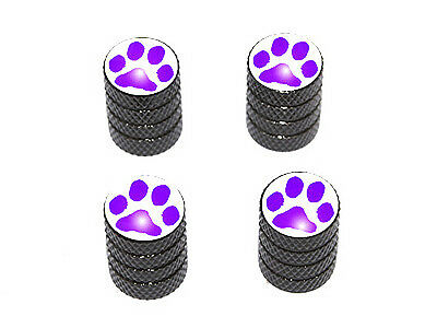 Purple Tire - Paw Print Purple - Tire Rim Valve Stem Caps - Black