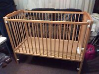 Pine cot with dropping side, quick sale