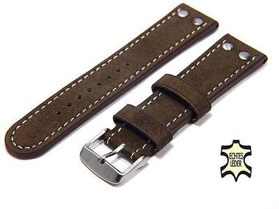 Uhrenarmband 22 mm ECHT WASSERBÜFFEL Kastanie-Braun FLIEGER Herren Uhrband
