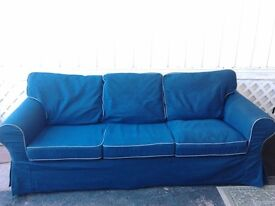 IKEA 3 SEATER SOFA + 2 RECLINER CHAIRS