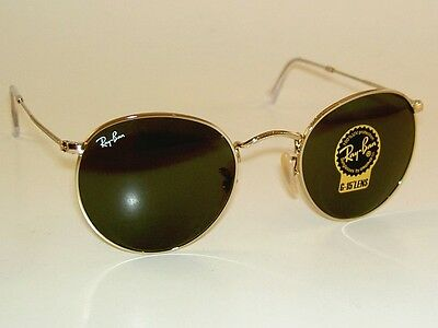 New Ray Ban Sunglasses Round Metal Rb 3447 001 Gold Frame G 15 Glass Lenses 53Mm