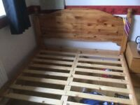 Pine wooden double bed frame
