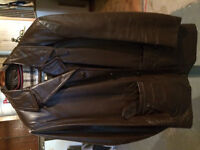Man's Leather Coat with Zip-Out Lining, size 38