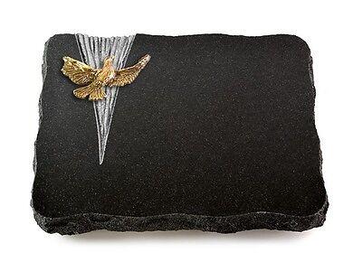 Grabplatte mit Taube, Grabstein, Indisch Black, ca. 40x30x5 cm (Taube Platte)