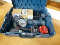 Bosch 14.4v cordless angle grinder and impact gun 2 batteries