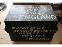LARGE HUGE COOL INDUSTRIAL VINTAGE BLANKET BOX CHEST TRUNK BLACK