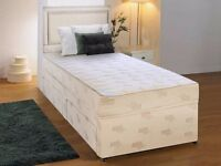"""**FREE LONDON DELIVERY** BRAND NEW Single Divan Bed Base and 9"""" Deep Quilt Semi Orthopaedic Mattress"""