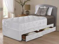 ★★ BRAND NEW ★★ SINGLE DIVAN BED BASE £39 ★ WITH DEEP QUILT MATTRESS £69 (BED + MATTRESS)