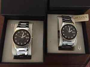 2x Stainless Steel Mens Bulova Watch with 8 Diamond Accent+Date