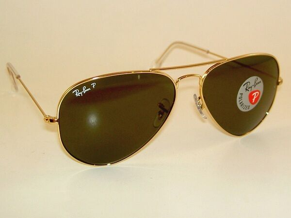 ae39842756 New RAY BAN Aviator Sunglasses Glass Polarized Green RB 3025 001 58 Gold  55mm