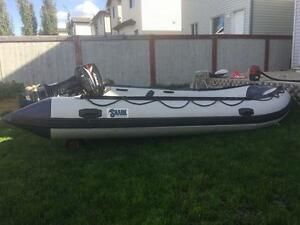 Full package 14ft Inflatable w/ 15 hp and all accessories
