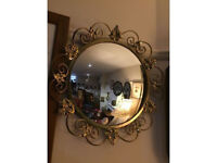 Gorgeous Rare Antique Convex Glass Round Mirror with Ornate Gilt Frame