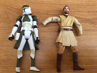 Star Wars Figures Obi Wan and Clone Trooper 2004 2008