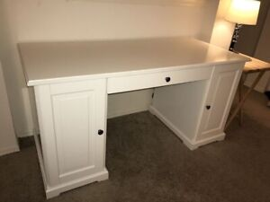 White IKEA LIATORP sideboard desk