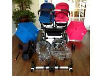 bugaboo donkey (Complete Set) £850 ono, double pushchair pram Pink & Blue