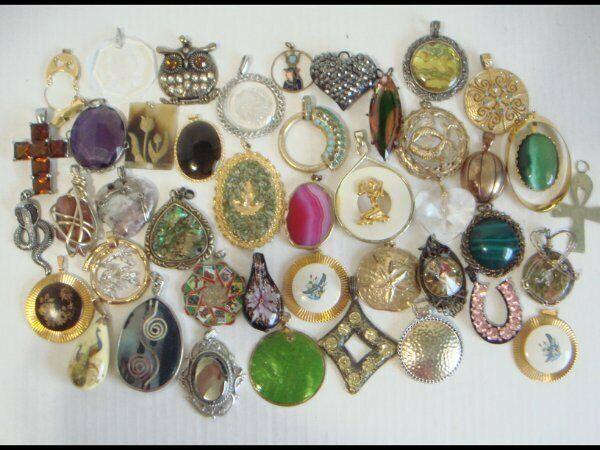 Vintage & Mod 45 Piece Large Pendant Jewelry Lot Assorted Glass Porcelain Enamel