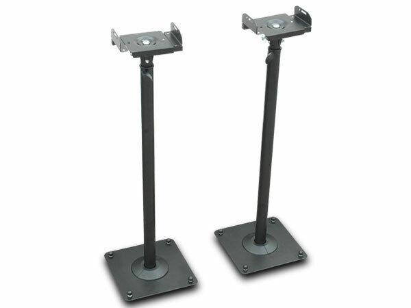 Zwei Lautsprecher Stative schwarz Monitore Ständer höhenverstellbar Kabelkanal