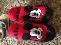 Size 2 Mickey Mouse sock slippers