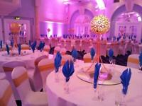 Chair covers, sashes, tablecloths and centrepieces fruit trees wedding events