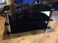 smoked glass three shelve stand