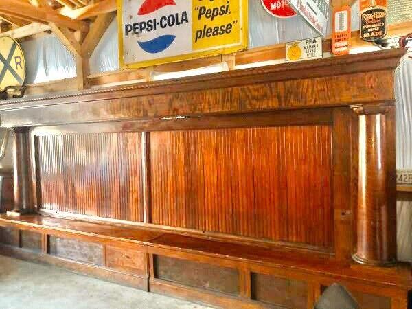 Antique 20ft Oak Brunswick back bar FREE SHIPPING