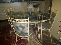 50's IRON & GLASS TABLE & 4 CHAIRS