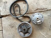 Exciter clutch and belt set