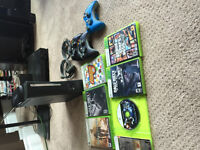 Xbox 360 elite 120gb 6 games 3 controllers, 2 headsets