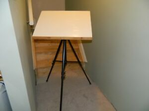 """Paint Easel (24""""w x 18"""") home-made & fitted to a camera stand"""