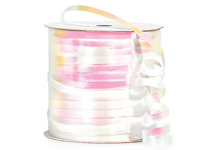7 White Iridescent Curling Ribbon Spools All Occasion Showers Holiday Weddings